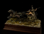 Achaean chariot 15 с. в.с. (набор для сборки) - Оловянная миниатюра, белый металл набор для сборки, 54 мм