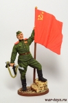Гв. ефрейтор пехоты Кр. Армии с советским флагом. 1943-45 гг - Оловянный солдатик, роспись 54 мм. Все оловянные солдатики расписываются художником в ручную