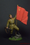 Гв. ефрейтор пехоты Кр. Армии с советским флагом. 1943-45 гг.