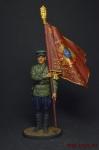 Ст. сержант погранвойск НКВД со знаменем 1939-43 СССР - Оловянный солдатик, роспись 54 мм. Все оловянные солдатики расписываются художником вручную