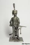 Гусар 10-го полка 1808 - Не крашенный оловянный солдатик. Высота 54 мм