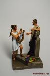Греция. Аристократ с музой - Оловянный солдатик коллекционная роспись 54 мм. Все оловянные солдатики расписываются художником вручную