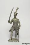 Трубач 5-го гусарского полка. Франция, 1812 год - Не крашенный оловянный солдатик. Высота 54 мм.