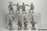 Набор пластиковых солдатиков - Штаб Наполеона (серый пластик)