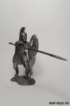 Греческий гоплит с копьем 75 мм - Оловянная миниатюра. Чернение. Высота 75 мм.