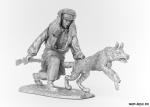 Пограничник РККА с собакой, 1941 г. - Оловянный солдатик. Чернение. Высота солдатика 54 мм