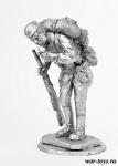 Рядовой РККА с папиросой - Оловянный солдатик. Чернение. Высота солдатика 54 мм