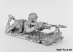 Девушка с пулеметом - Оловянный солдатик. Чернение. Высота солдатика 54 мм