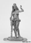 Девушка с винтовкой - Оловянный солдатик. Чернение. Высота солдатика 54 мм