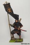 Японский воин-монах с флагом, 1185 год - Оловянный солдатик коллекционная роспись 54 мм. Все оловянные солдатики расписываются художником в ручную