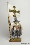 Тевтонский рыцарь со знаменем Ордена, 1400 год - Оловянный солдатик коллекционная роспись 54 мм. Все оловянные солдатики расписываются художником в ручную