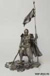 Рыцарь Тевтонского Ордена с Флагом, XI в. - Оловянный солдатик. Чернение. Высота солдатика 54 мм