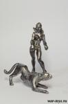 Девушка с пантерой Pin Up - Оловянный солдатик. Чернение. Высота солдатика 54 мм