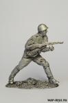 Автоматчик РККА. Атака. (№ 4) (286) - Оловянный солдатик. Чернение. Высота солдатика 54 мм