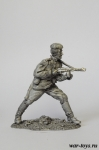 Автоматчик РККА. Атака. (№ 5) - Оловянный солдатик. Чернение. Высота солдатика 54 мм