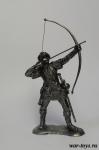 Английский лучник 13 века. - Оловянный солдатик. Чернение. Высота солдатика 54 мм