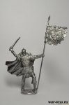 Викинг со знаменем - Оловянный солдатик. Чернение. Высота солдатика 54 мм