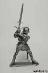 Европейский рыцарь с двуручным мечем, 15 век - Оловянный солдатик. Чернение. Высота солдатика 54 мм