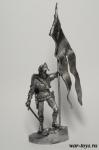 Польский рыцарь со знаменем - Оловянный солдатик. Чернение. Высота солдатика 54 мм