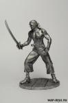 Пират с саблей и пистолетом - Оловянный солдатик. Чернение. Высота солдатика 54 мм