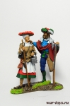 Фрау с ландскнехтом - Оловянный солдатик коллекционная роспись 54 мм. Все оловянные солдатики расписываются художником в ручную