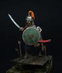 Татаро-монгольский воин с мечом, 14 век - Оловянный солдатик, белый металл (набор для сборки из 11 деталей). Размер 54 мм (1:30).