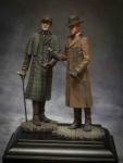 Шерлок Холмс и доктор Ватсон, 1890-е годы (2 фигуры) - Оловянный солдатик, белый металл (набор для сборки из 13 деталей). Размер 54 мм (1:30).
