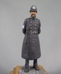 Сержант полиции Лондона. Великобритания 1865-97 гг. - Оловянный солдатик, белый металл (набор для сборки из 3 детали). Размер 54 мм (1:30).