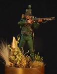 Британский стрелок 95-го легкого пехотного полка, 1807-15 гг - Оловянный солдатик, белый металл (набор для сборки из 10 деталей). Размер 54 мм (1:30).
