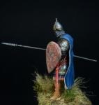 Русский тяжелый копейщик, 14 век - Оловянный солдатик, белый металл (набор для сборки из 10 деталей). Размер 54 мм (1:30).