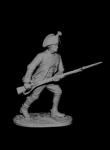 Рядовой мушкетерских плк. в Итальянском походе Суворова, Россия - Оловянный солдатик, белый металл (набор для сборки из 10 деталей). Размер 54 мм (1:30). 2 варианта голов, 2 варианта патронных сумок