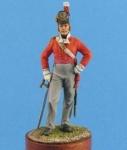 Британский офицер пехотных полков, 1812-15 гг. - Оловянный солдатик, белый металл (набор для сборки из 3 деталей). Размер 54 мм (1:30)