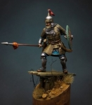 Татаро-монгольский воин с копьем, 14 век - Оловянный солдатик, белый металл (набор для сборки из 11 деталей). Размер 54 мм (1:30)