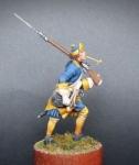 Шведский мушкетер пехотных полков на марше, 1700-21 - Оловянный солдатик, белый металл (набор для сборки из 14 деталей). Размер 54 мм (1:30). Бонус:  2 варианта головных уборов, 2 варианта пороховниц