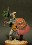Ацтекский воин - орел, XIV-XVI века - Оловянный солдатик, белый металл (набор для сборки из 9 деталей). Размер 54 мм (1:30)