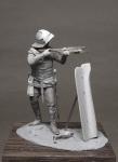 Бургундский арбалетчик, 1460-75 - Оловянный солдатик, белый металл (набор для сборки из 22 деталей). Размер 54 мм (1:30)