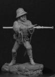 Европейский солдат с ручной бомбардой, 1450-75 - Оловянный солдатик, белый металл (набор для сборки из 14 деталей). Размер 54 мм (1:30)