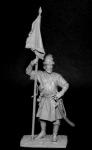 Подпрапорщик рейтарских полков, Россия 1655-99 - Оловянный солдатик, белый металл (набор для сборки из 12 деталей). Размер 54 мм (1:30)
