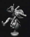Барон Мюнхгаузен - Оловянный солдатик, белый металл (набор для сборки из 11 деталей). Размер 54 мм (1:30)
