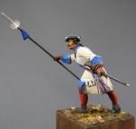 Офицер армейских пехотных полков, Россия 1710-20 - Оловянный солдатик, белый металл (набор для сборки из 7 деталей). Размер 54 мм (1:30)
