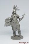 Индеец со щитом и тамагавком - Не крашенный оловянный солдатик. Высота 54 мм.
