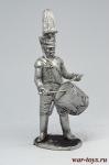 Барабанщик гренадерского взвода батальона Императорской милиции, - Не крашенный оловянный солдатик. Высота 54 мм.