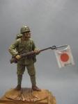 Японский пехотинец, 1938-45 гг. - Оловянный солдатик, белый металл (набор для сборки из 13 деталей). Размер 54 мм (1:30)
