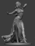 Восточный танец: Девушка - Оловянный солдатик, белый металл (набор для сборки из 8 деталей). Размер 54 мм (1:30)