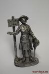 Девушка - инструктор МПВО с ручной сиреной, 1941-44 гг. СССР - Не крашенный оловянный солдатик. Высота 54 мм.