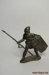 Генуэзский копейщик, XIV в. - Не крашенный оловянный солдатик. Высота 54 мм.
