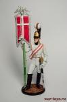 Эстандарт-юнкер Кавалергардского полка со штандартом. 1805-08 - Оловянный солдатик коллекционная роспись 54 мм. Все оловянные солдатики расписываются художником вручную