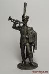 Штаб-трубач Сумского гусарского полка. Россия, 1810-14 - Не крашенный оловянный солдатик. Высота 54 мм.