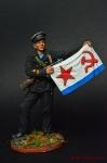 Старшина 1-й статьи с флагом ВМФ, 1941-43 гг. СССР - Оловянный солдатик коллекционная роспись 54 мм. Все оловянные солдатики расписываются художником вручную