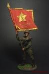 Старшина Красной Армии с полковым знаменем. 1943-45 СССР - Оловянный солдатик коллекционная роспись 54 мм. Все оловянные солдатики расписываются художником вручную